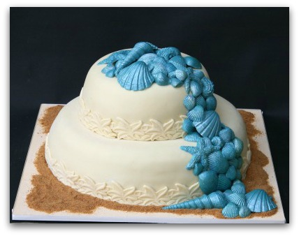 This is a smaller two tiered beach theme wedding cake which is just perfect