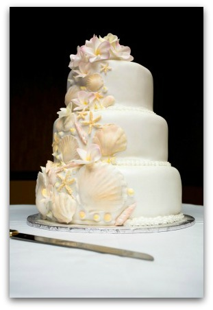 This white cake is accented with some very light pastel pink seashells and