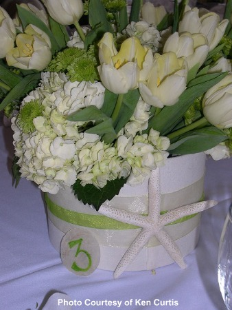 beach wedding centerpieces You can accomplish this with any floral