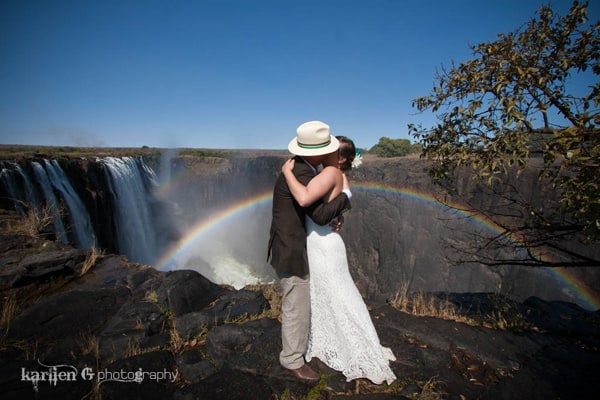 waterfall destination wedding