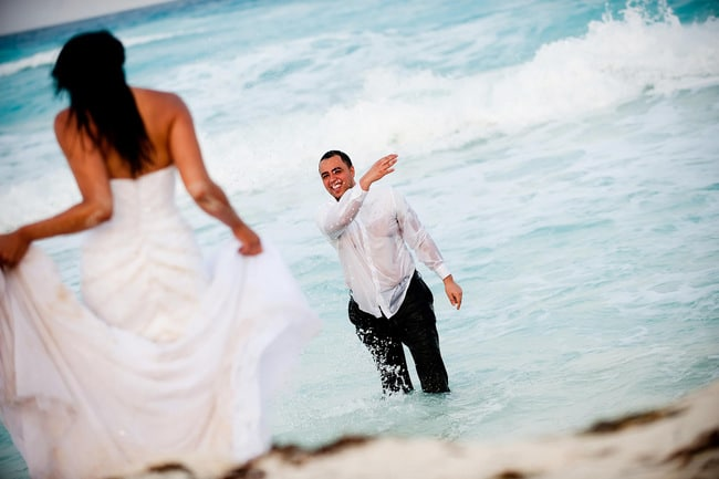 Cancun beach Trash the dress photos