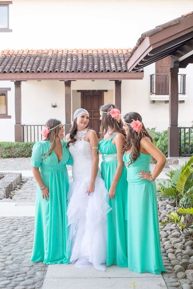 Turquoise and coral beach bridesmaid attire