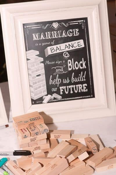 wedding sign for jenga guest book
