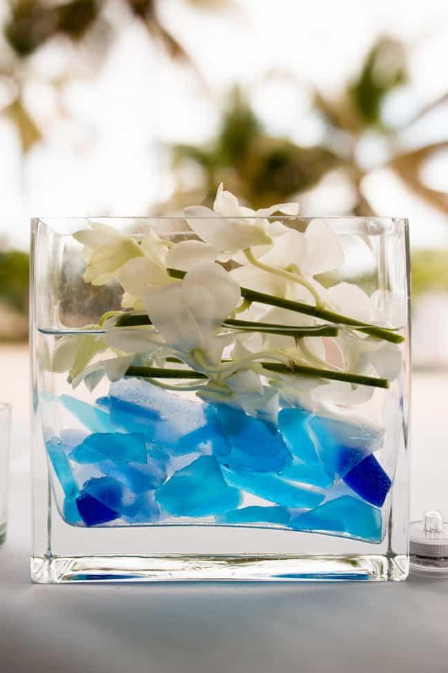 sea glass wedding centerpiece