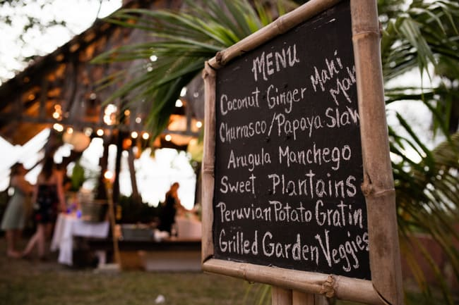 Beach wedding chalkboard menu