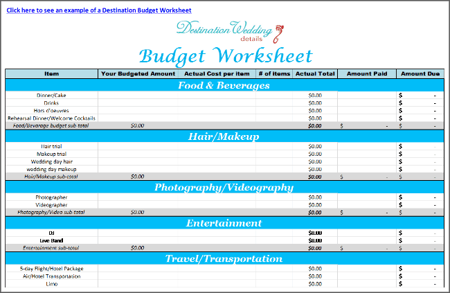 Destination Wedding Budget Spreadsheet