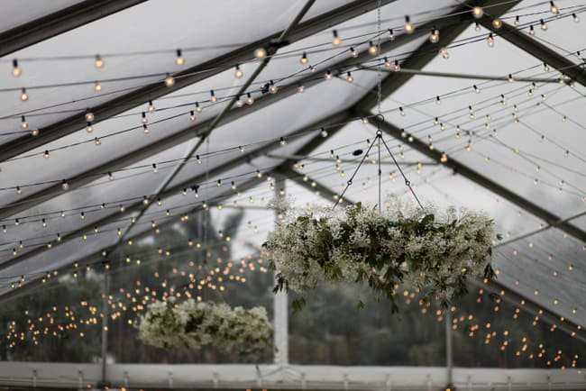Gorgeous wedding chandelier made of baby's breath