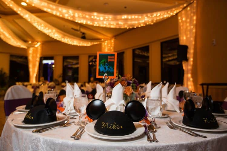 Personalized Mickey Mouse ears as place holders and wedding favors
