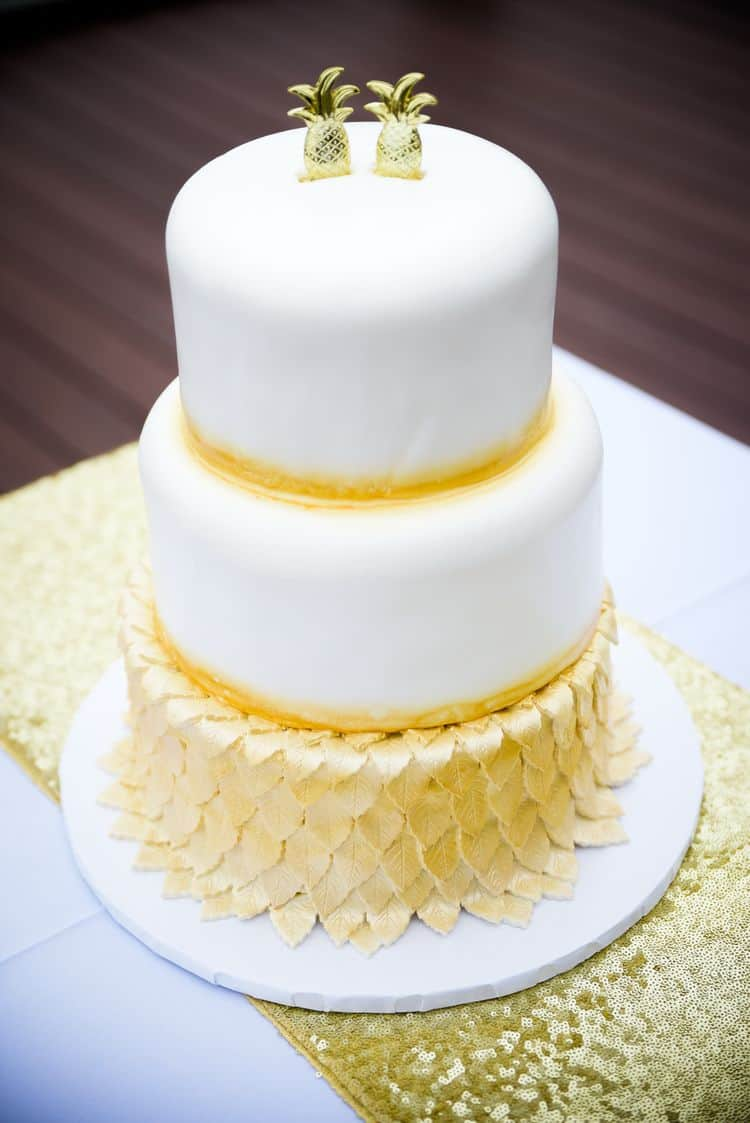Golden Pineapple Elopement In North Carolina Destination Wedding - Pineapple Wedding Cake