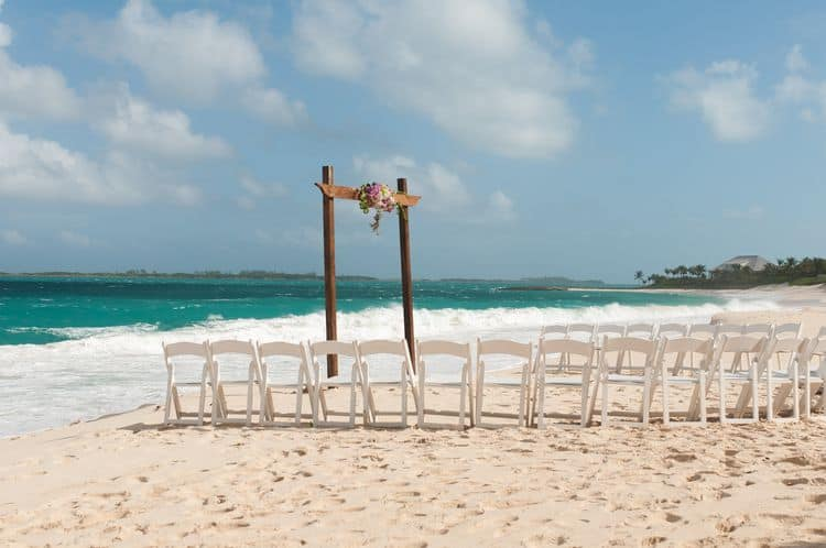 Intimate destination wedding at Cabbage Beach in the Bahamas