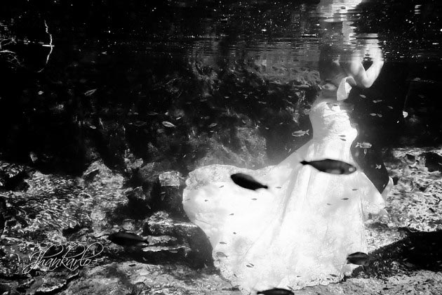 riviera maya trash the dress underwater