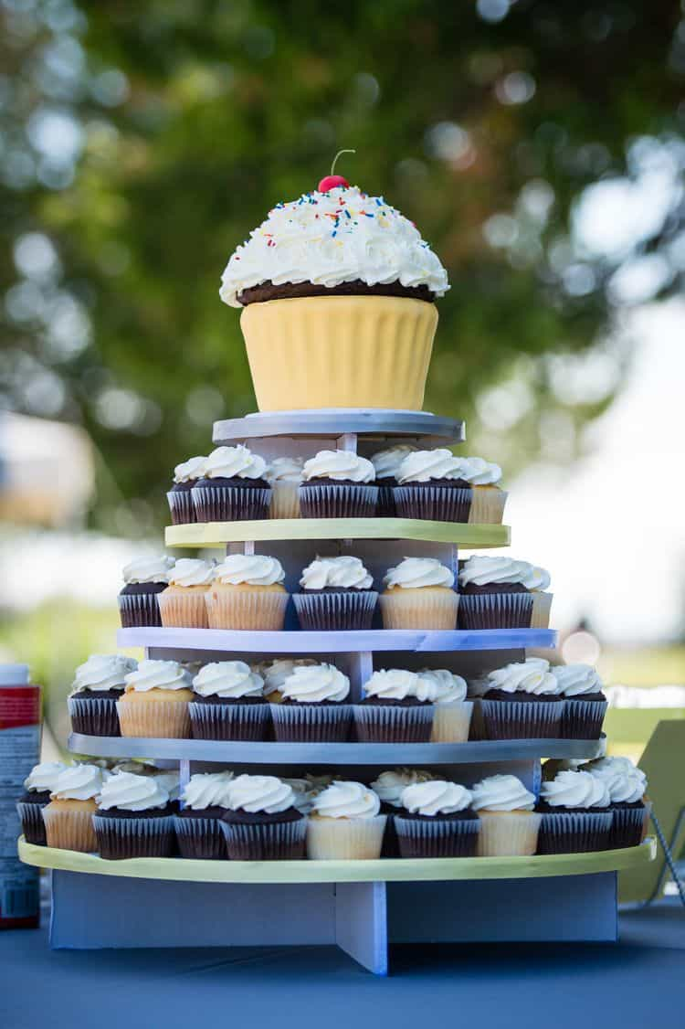 Giant cupcake wedding cake