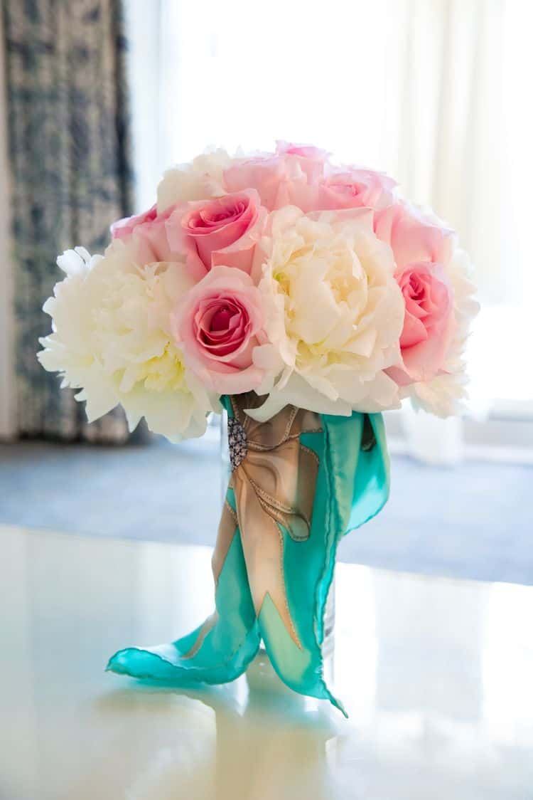 Pink and white bouquet with a tiffany scarf