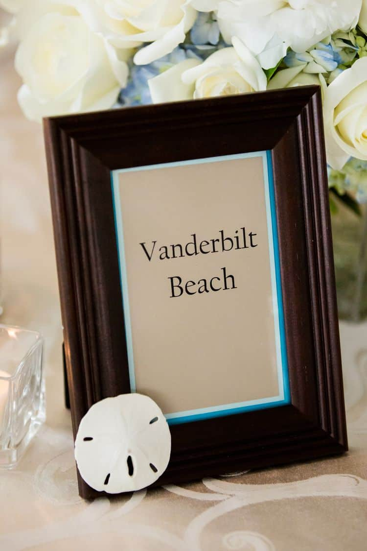 Wedding tables named after different beaches