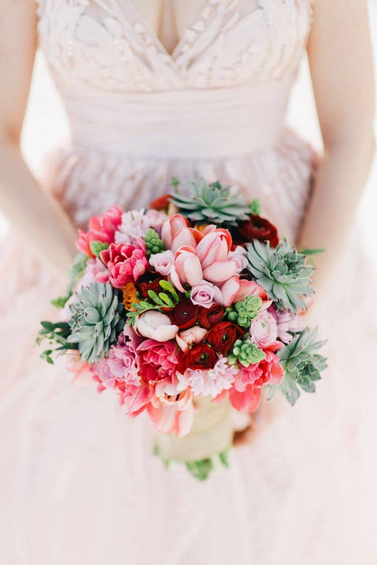 pink and red beach wedding bouquet