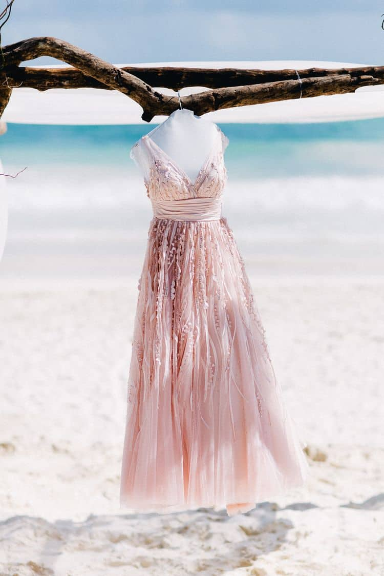 Blush beach wedding dress