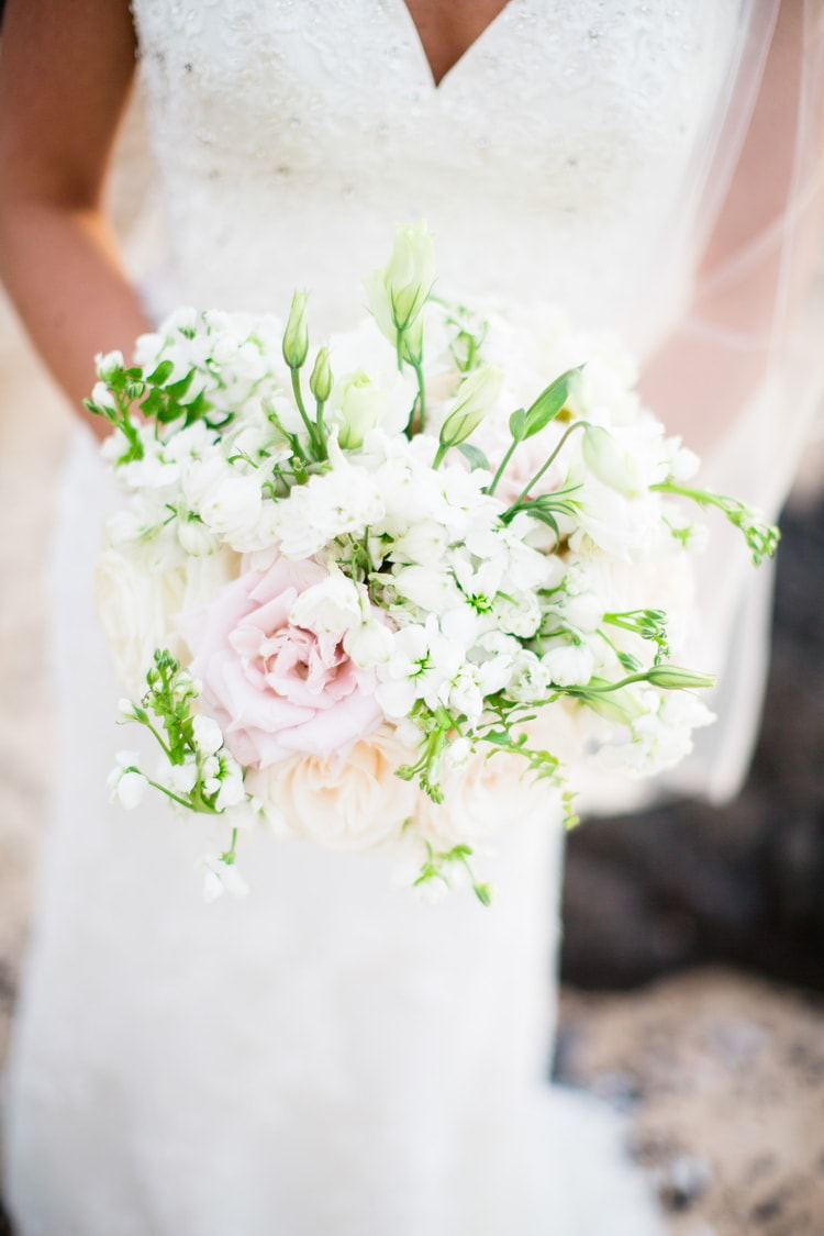 A Gorgeous White Orchid Beach House Wedding in Maui - BridalPulse