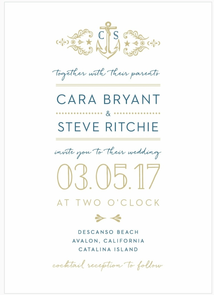 anchor destination wedding invitation