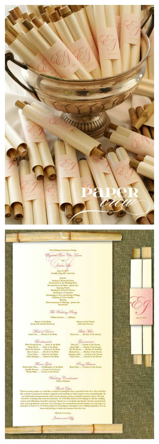 Bamboo scroll destination wedding programs