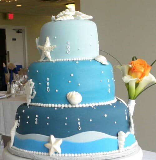 Beach Theme Wedding Cake - Destination Wedding Details