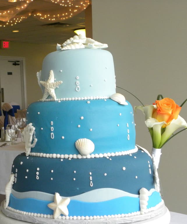 blue beach theme wedding cake