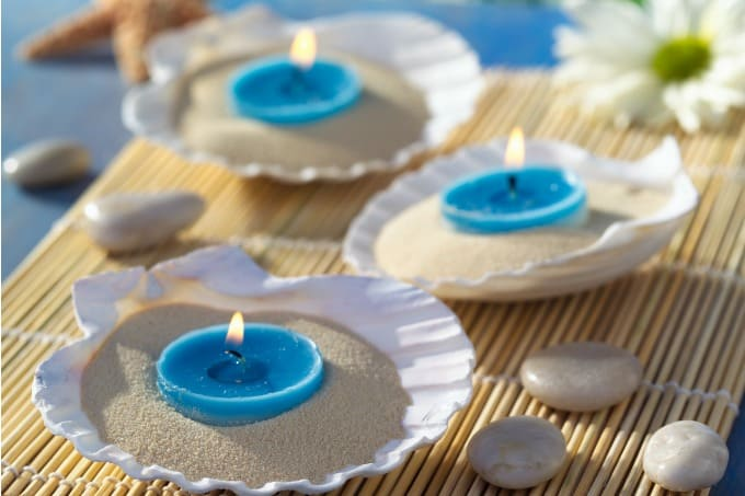 Beach theme wedding centerpieces destination details