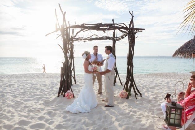 Eco Chic Beach wedding arch made of driftwood