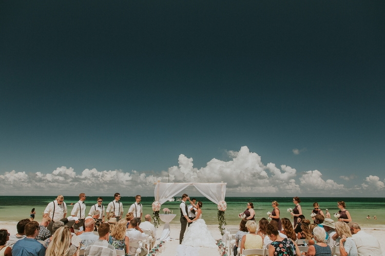 beach wedding at Royalton Riviera Cancun 172