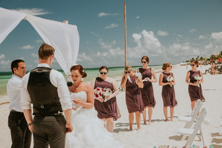 beach wedding at Royalton Riviera Cancun 174