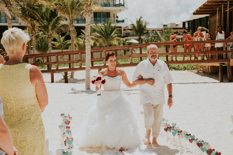 beach wedding at Royalton Riviera Cancun 186