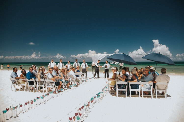 beach wedding at Royalton Riviera Cancun 191