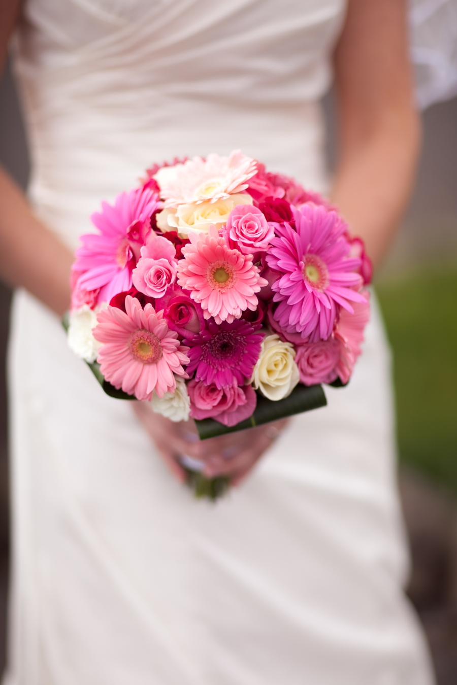 Beach Wedding Bouquet Pink Gerbeera Daisies And Roses