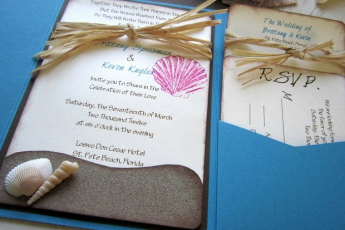 Beach Themed Wedding Invitations Templates