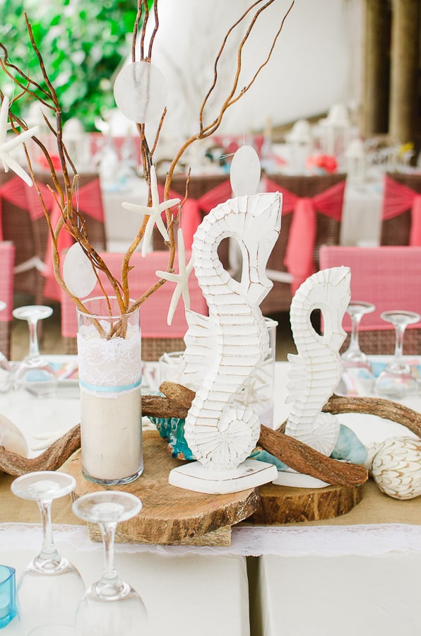 Beach Theme Wedding Centerpieces | Destination Wedding Details