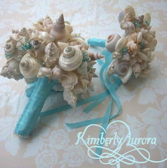 blue seashell bouquets