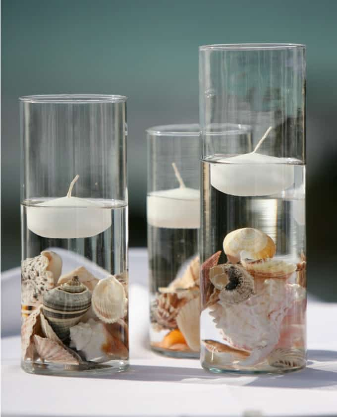 High Quality Candle And Seashell Beach Wedding Centerpieces
