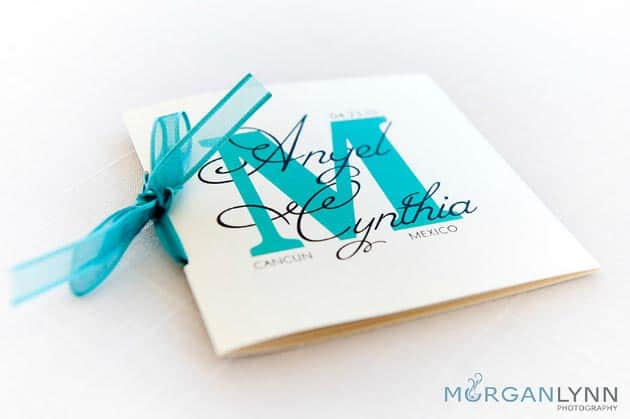 destination wedding program with monogram
