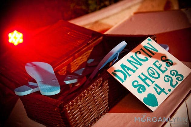 beach wedding sandals sign