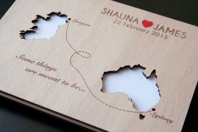 Destination Wedding Guest Book With Engraved Maps