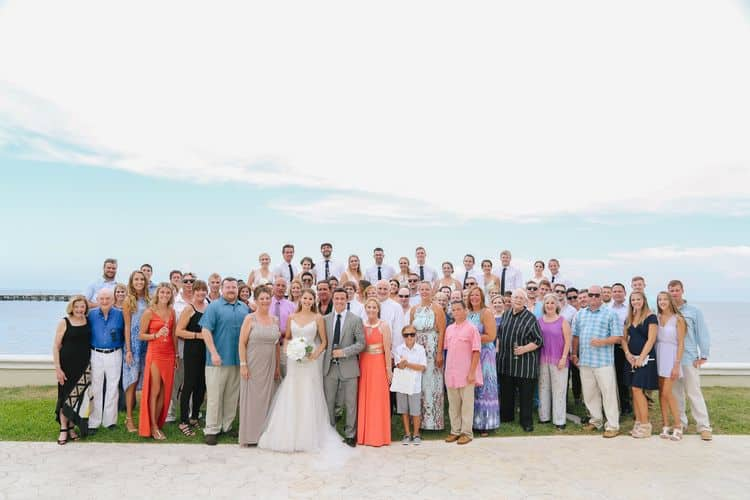 destination wedding group guest photo