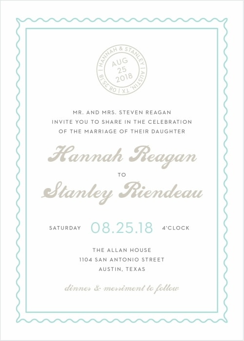 destination wedding invitation with postmark symbol