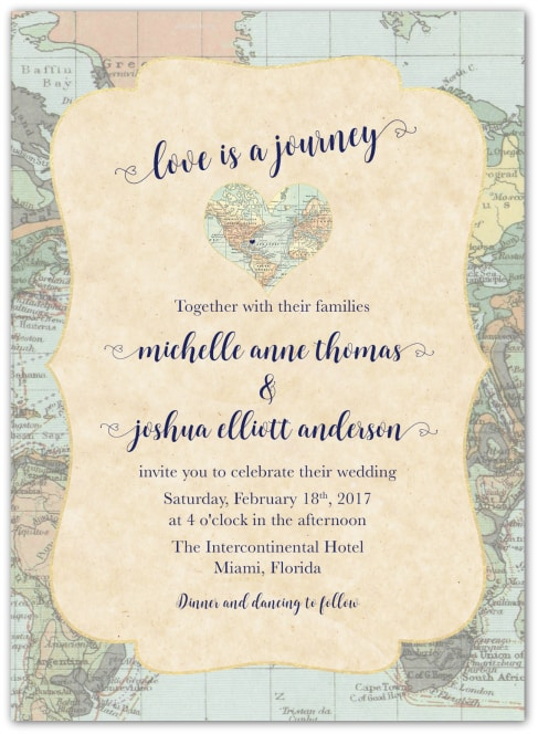 destination wedding invitation wording example love is a journey 1 - Wedding Invitation Wording Etiquette