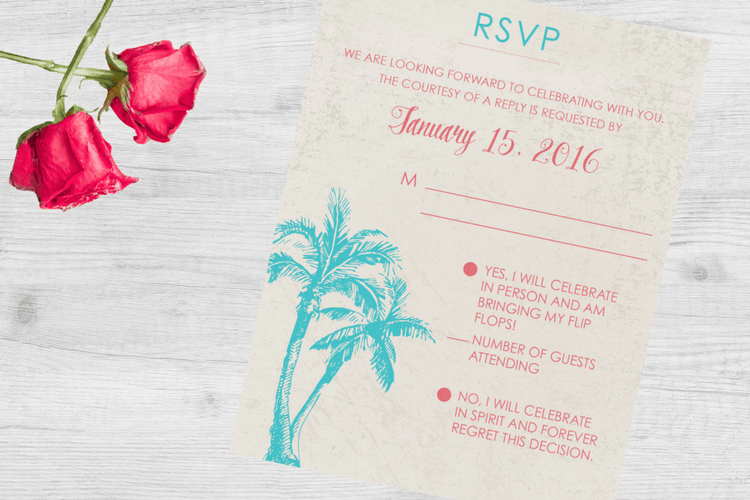 Destination wedding invitation wording etiquette and examples destination wedding invitation wording rsvp example filmwisefo Images