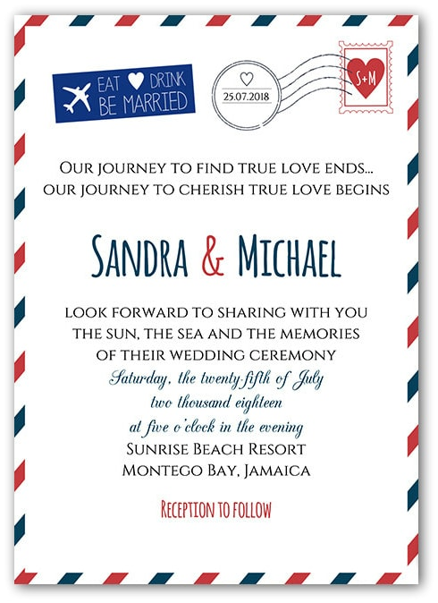 Destination wedding invitation wording etiquette and examples destination wedding invitation wording sample airmail stopboris Choice Image