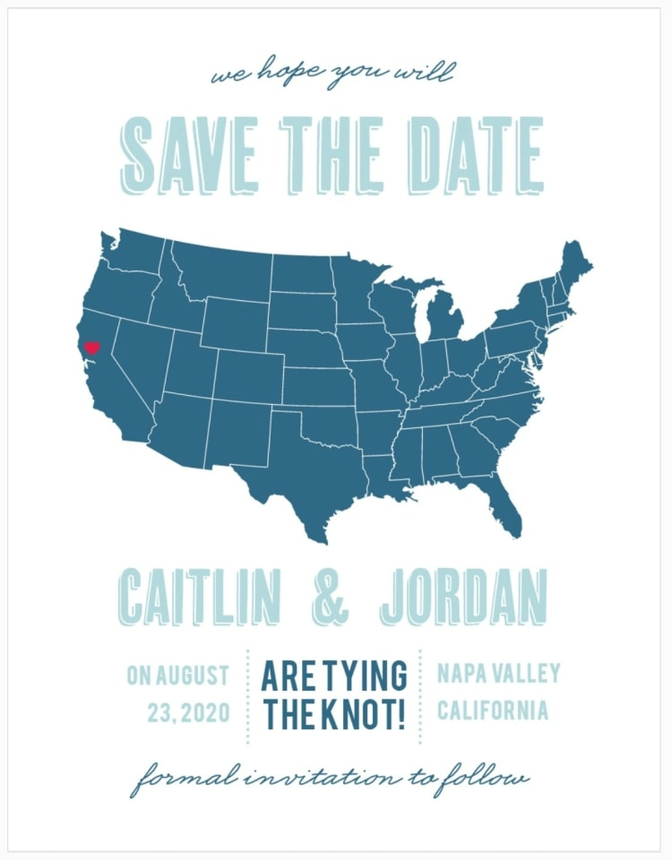 destination wedding save the date with map