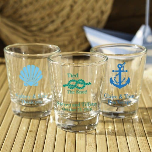 destination wedding favor - personalized shot glasses