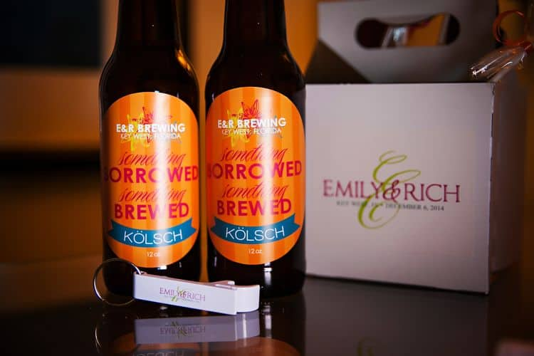wedding welcome bags with home brewed beer and custom labels