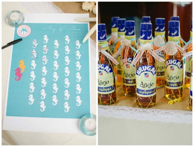 beach wedding guest book and favors