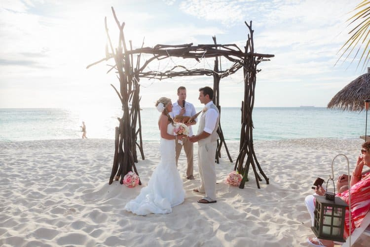 eco chic beach wedding arch decorations