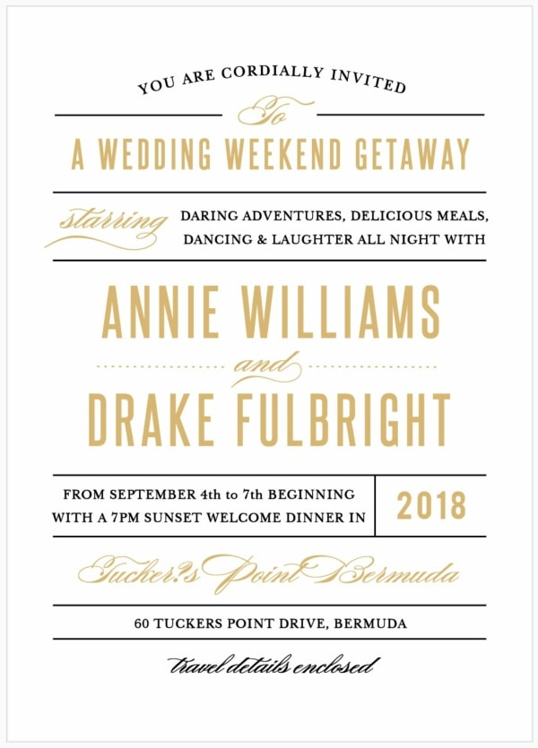 foil destination wedding weekend invitation